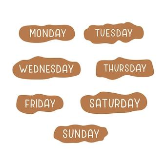 Handwritten days of the week monday tuesday wednesday thursday friday saturday sunday