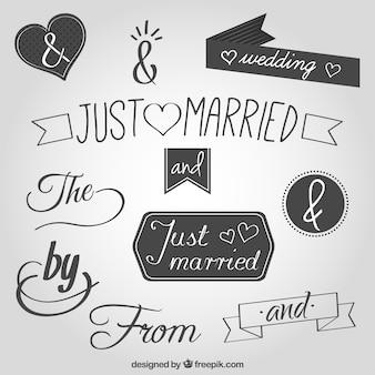 Рукописные существенные свадебные слова и амперсанд символ