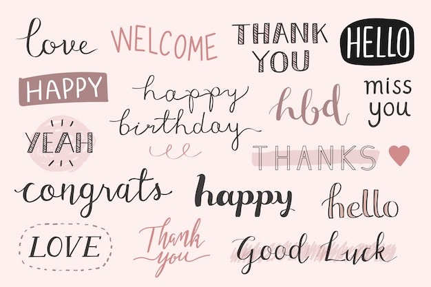 Handwritten greetings typography set