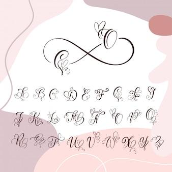 Рукописные сердца каллиграфии вензель алфавит. курсивный шрифт с сердцем процветает
