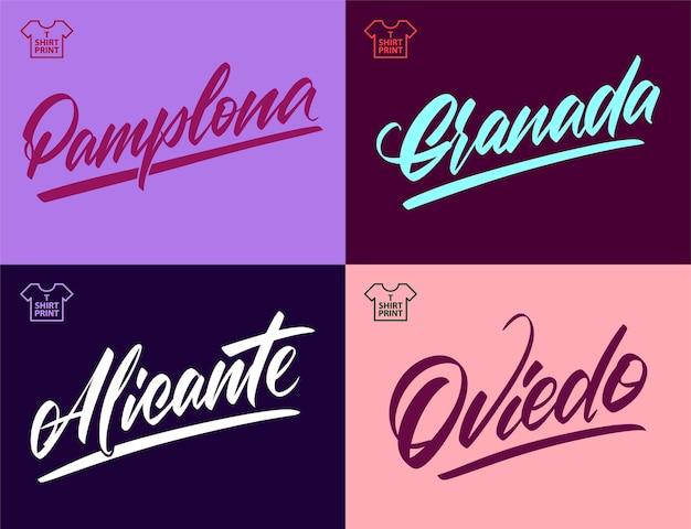 스페인 도시의 손으로 쓴 비문 - 그라나다, 알리칸테, 팜플로나, 오비에도 티셔츠와 기념품에 인쇄합니다. 벡터 일러스트 레이 션.