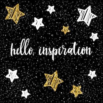 검은 배경에 손으로 쓴 글자와 손으로 그린 별. 손으로 만든 영감 인용문과 디자인 티셔츠, 카드, 초대장, 책, 포스터, 스크랩북, 앨범 등을 위한 추상 금색 별 하늘