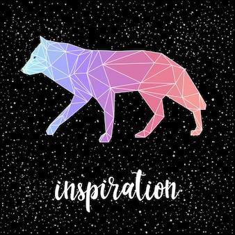 검은 배경에 손으로 쓴 글자와 다각형 늑대. 측면보기. 디자인 티셔츠, 카드, 초대장, 책, 포스터, 스크랩북, 앨범 등을 위한 손으로 만든 영감 인용문 및 낮은 폴리 추상 늑대