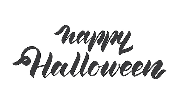 Handwritten lettering of happy halloween isolated on white background