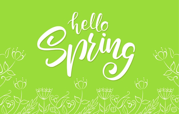 Handwritten lettering of hello spring