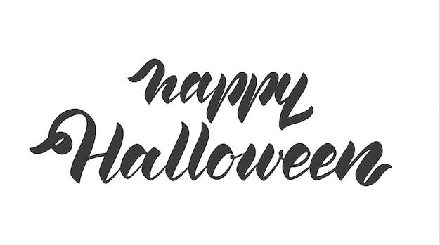 Рукописные буквы счастливого хэллоуина, изолированные на белом фоне