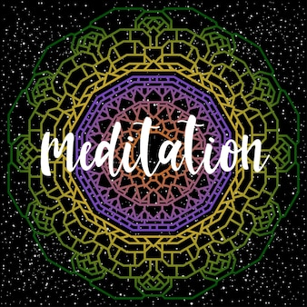 黒に手書きのレタリング。デザインtシャツ、ホリデーカード、招待状、パンフレット、スクラップブック、アルバムなどの手作りの瞑想の引用と手描きの曼荼羅を落書きします。