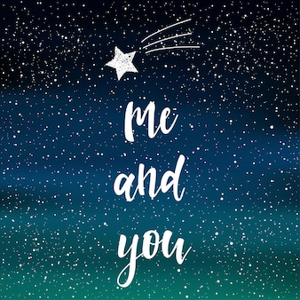 北の光を背景に夜空に手書きのレタリング。手作りの私を落書きして、デザインtシャツ、ウェディングカード、ブライダル招待状、バレンタインデーのアルバムなどの星を引用して手描きします。