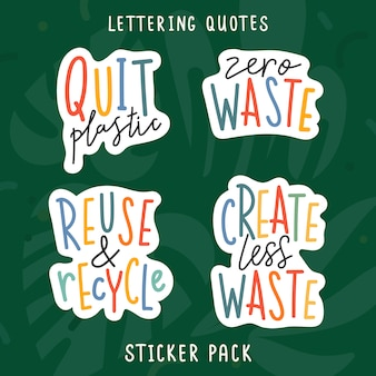 Handwritten lettering phrases devoted to ecological and environmental issues