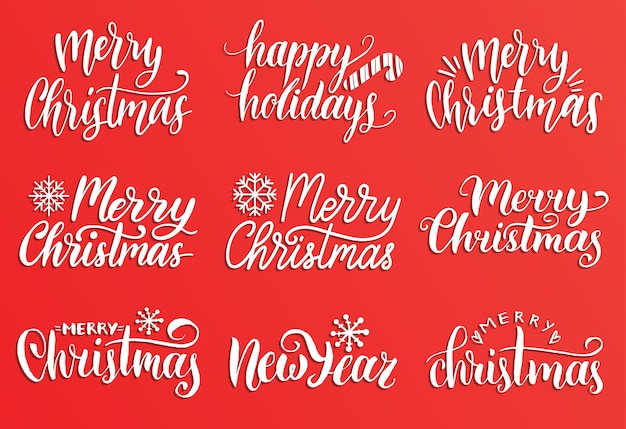 Handwritten merry christmas calligraphy set. collection of nativity and new year lettering.