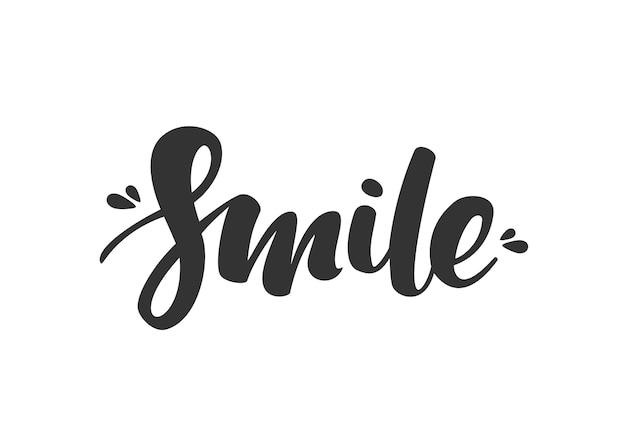 Рукописные современные кисти надписи улыбки на белом фоне