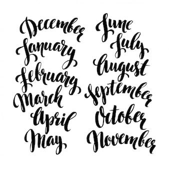 年間の手書きの月。 12月、1月、2月、3月、4月、5月、6月、7月、8月、9月、10月、11月。
