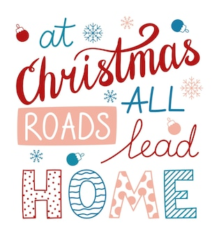 Handwritten phrase about christmas. christmas beautiful lettering with decorative elements.