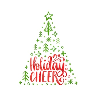 Handwritten phrase holidays cheer. vector christmas spruce illustration on white background.