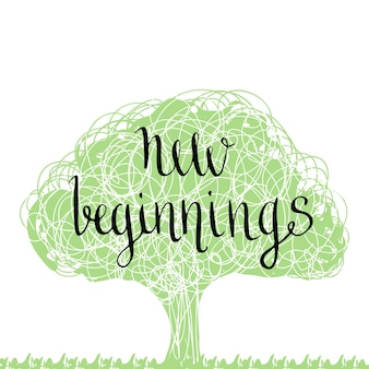 手書きのフレーズ - 新しい始まり。手描きのレタリングデザイン。エコツリーのシルエット。ベクトル図。