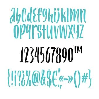 Handwritten script font. brush font. uppercase, numbers, punctuation