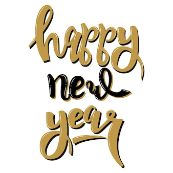 Handwritten text happy new year lettering isolated