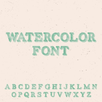 Handwritten watercolor font template with latin green letters on the rose illustration