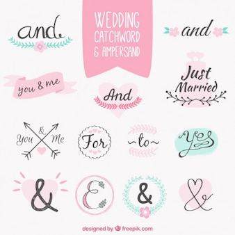 Handwritten wedding words and symbol
