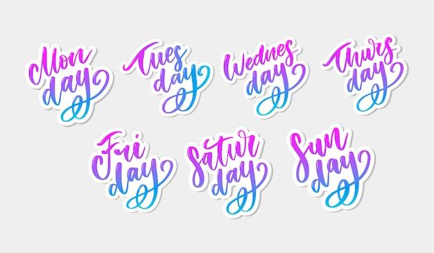 Handwritten week days and symbols set.