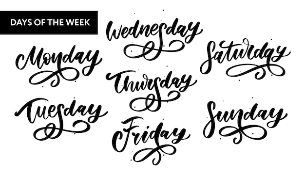 Handwritten week days and symbols set.
