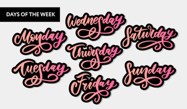 Handwritten week days and symbols set