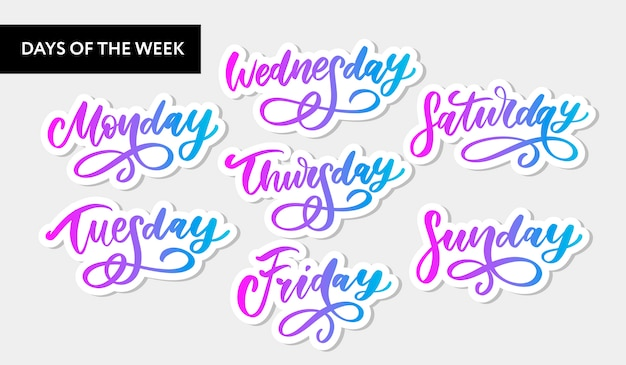Handwritten week days and symbols sticker set.