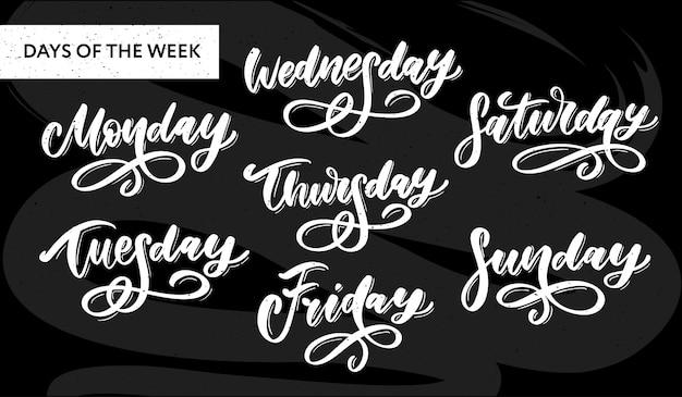 Handwritten week days