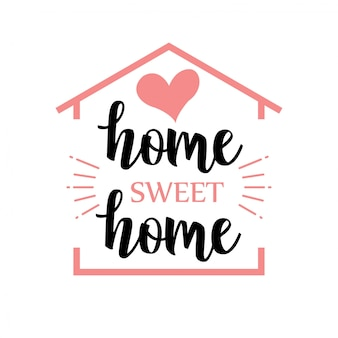 Handwritten word home sweet home. vector illustration.