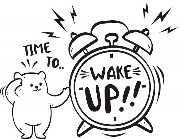 Рукописное слово время проснуться с милым медведем