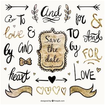 Рукописные слова о свадьбе и украшения