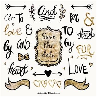 Parole scritte a mano su matrimonio e ornamenti
