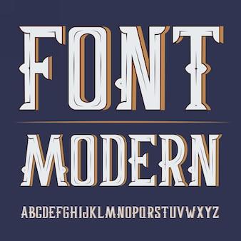 편리한 제작 된 현대 레이블 글꼴. 어두운 배경에