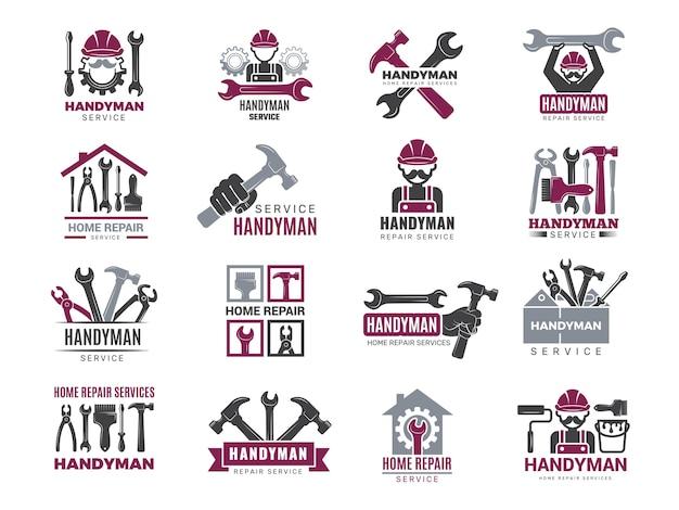 Значки разнорабочего. строители и рабочие символы подрядчика техники векторные логотипы для разнорабочего. иллюстрация плотник разнорабочий логотип и эмблема