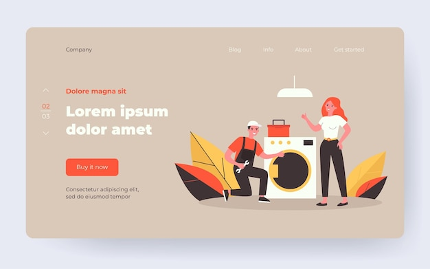 Handyman fixing washing machine. repairman in overall with tools and female client flat vector illustration. home appliance maintenance concept for banner, website design or landing web page