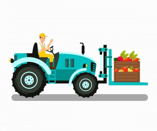 Handyman in fork lift tractor vector illustration