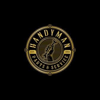 Handyman handy service and parts vintage logo illustration design