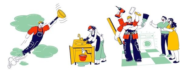 Разнорабочий в спецодежде с приборами и оборудованием для ремонта техники и сантехники. профессиональный работник с инструментами помогает семье, муж на часовом обслуживании, мультяшный плоский вектор, штриховая графика