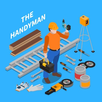 Handyman isometric illustration