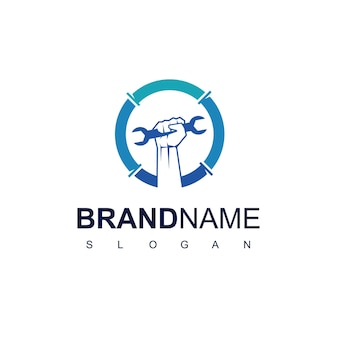 Handyman logo design template with wrench and hand symbol