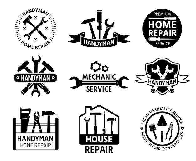 핸디맨 로고. 건설 및 편리한 도구, 렌치 및 망치가 있는 정비사 및 주택 수리 서비스 로고. 작성기 회사 스탬프 벡터 집합입니다. 드라이버, 브러시 및 스패너가 있는 도구 상자