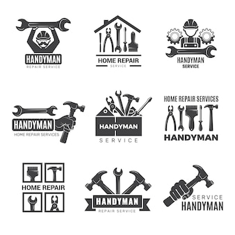 Handyman logo. worker with equipment servicing badges screwdriver hand contractor man symbols. equipment for repair and construction logo, service logotype toolbox illustration