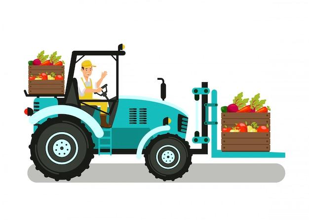 Handyman in mechanical loader color illustration