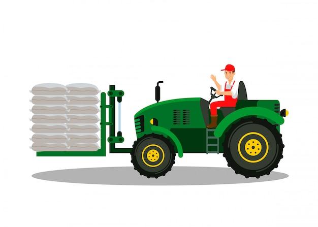 Handyman in mechanical loader flat illustration