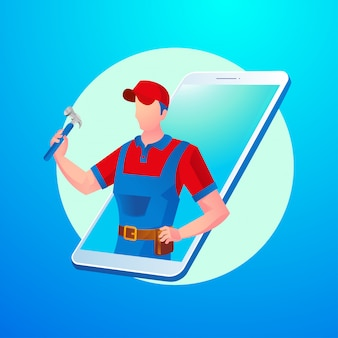 Handyman online virtual app with smartphone