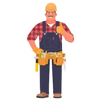 핸디 또는 빌더. 건설 헬멧을 쓰고 도구를 든 남자가 멋진 제스처를 보여줍니다.