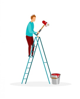 Handyman painting wall flat vector illustration