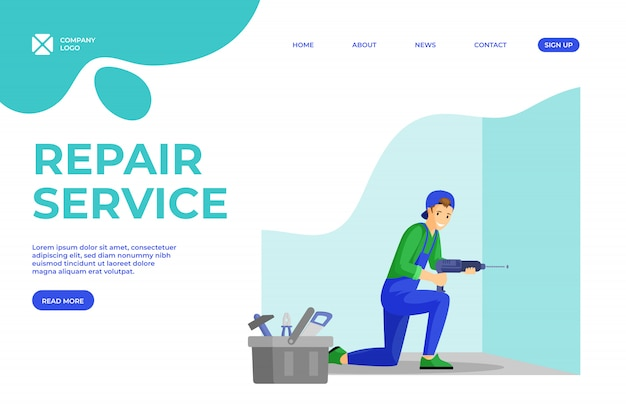 Handyman services flat landing page template. young repairman making hole in wall using electric drill cartoon character. husband for an hour, engineer and electrician services homepage design