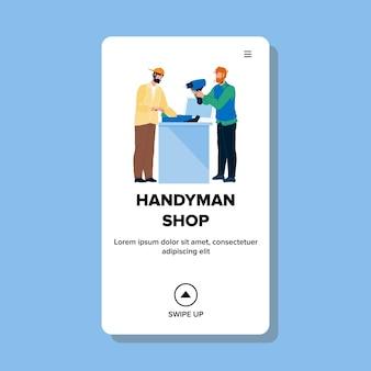 Handyman shop seller man selling drill vector. handyman shop buyer buying electric equipment for renovation and repair. characters customer and salesman at store counter web flat cartoon illustration
