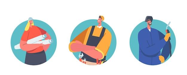 도구 및 청사진 롤이 있는 재주꾼, 용접공 및 건축가, 엔지니어 또는 감독 캐릭터. 전문 산업 노동자 팀, 안전 헬멧 건설자. 만화 사람들 벡터 일러스트 레이 션